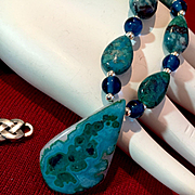 Semi-Precious Gem Silica Chrysocolla Necklace, 19 Inches