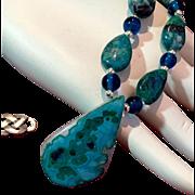 Semi-Precious Gem Silica Chrysocolla Necklace, 19 Inches