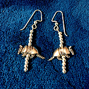 Armadillo Earrings of Pewter & Sterling Silver, 2 Inches