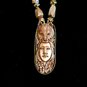 Bear Totem Necklace of Bone, Brass & Jasper, 22 Inches