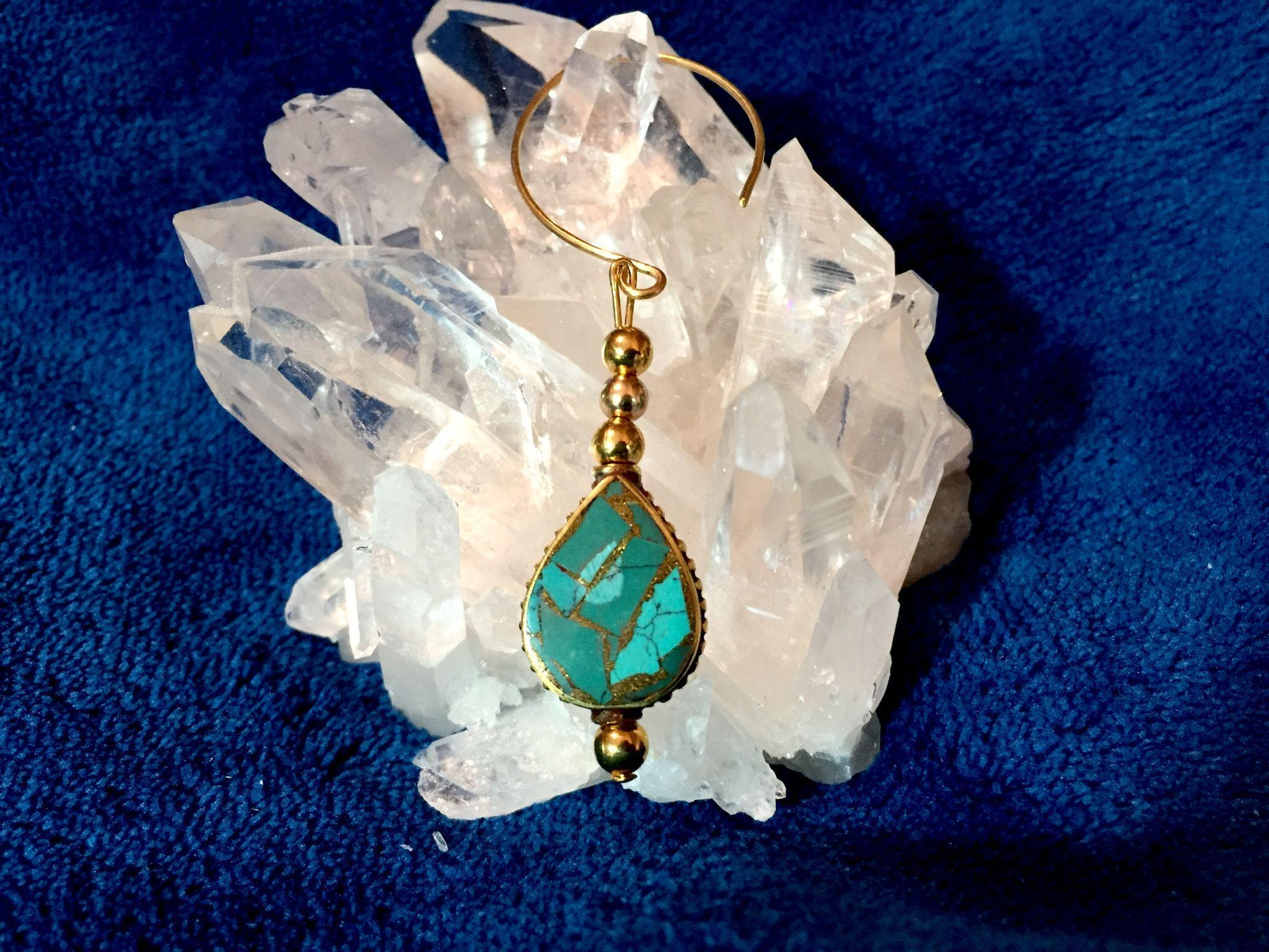 Artisan Brass & Turquoise Earrings, 2-5/8 Inches