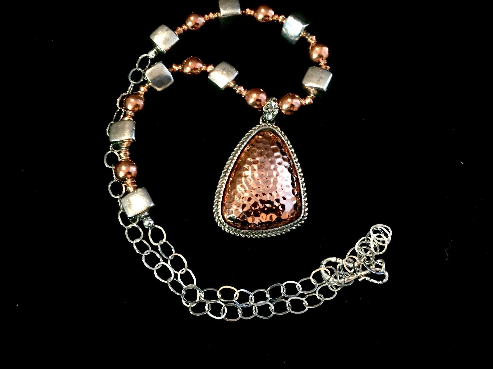 Awesome Copper & Sterling Silver Necklace, 22-24 Inches