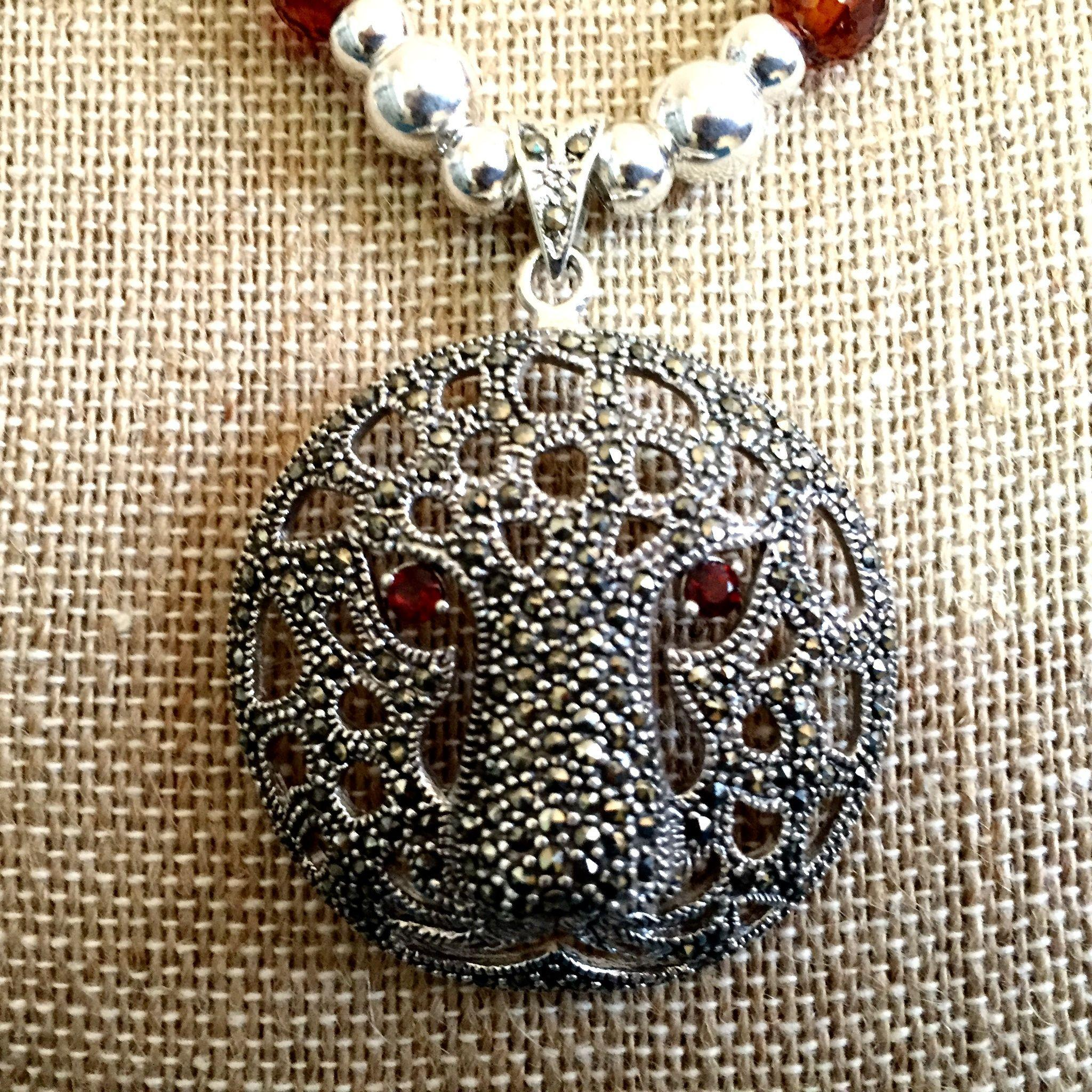 Tiger Totem Necklace of Marcasite, Cubic Zirconia & Sterling Silver, 21 Inches
