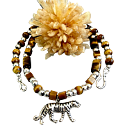 Tiger Totem Necklace of Sterling Silver & Tiger's Eye, 20 Inches