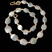 Faceted Aquamarine Choker Length Necklace, 19 Inches