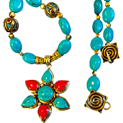 Flower Necklace of Turquoise, Coral and Brass, 21 Inches