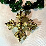 Chrome Diopside Necklace with Brass Buddhist  Amulet, 20-1/2 Inches