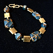 Teal Blue Gold Quartz Collage & Vermeil Bracelet, 8-1/4 Inches