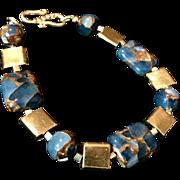 Teal Blue Gold Quartz Collage & Vermeil Bracelet, 8-1/4 Inches
