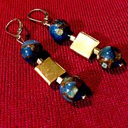 Teal Blue Gold Quartz Collage & 24K Vermeil Earrings, 1-5/8 Inches