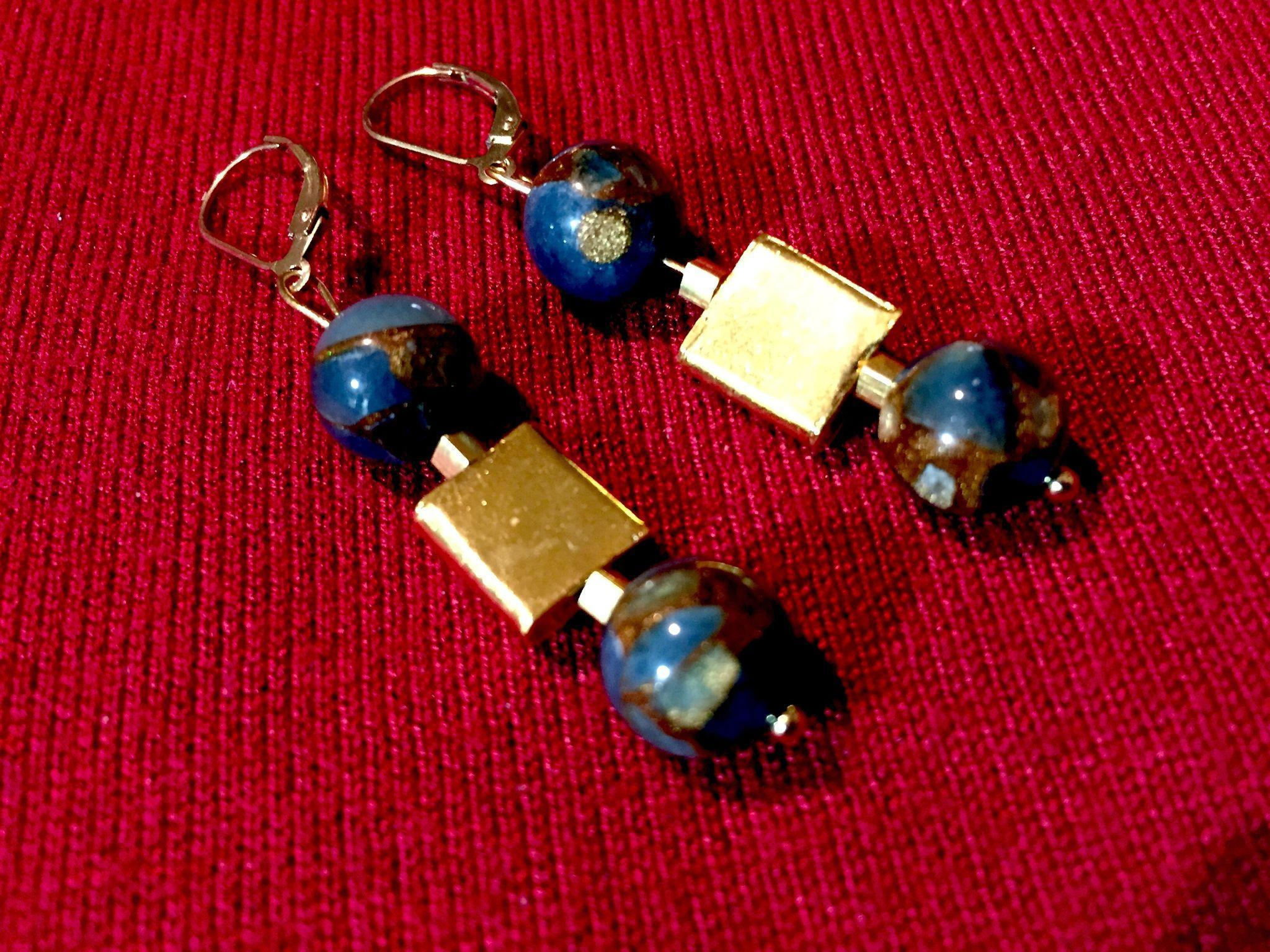 Teal Blue Gold Quartz Collage & 24K Vermeil Earrings, 1-5/8 Inches