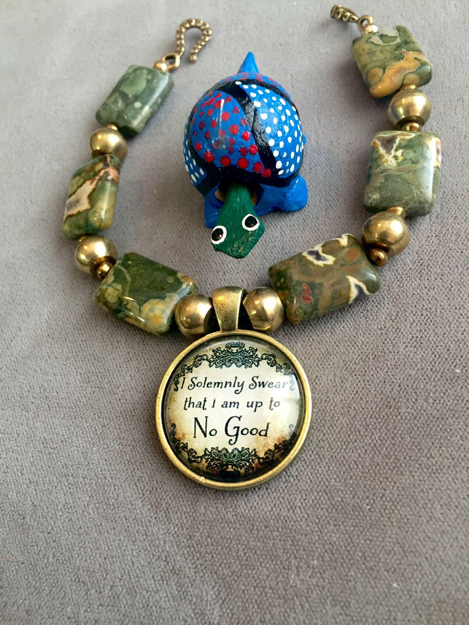 """""""Up to No Good"""" Bracelet of Rhyolite and Brass, 7-3/4 Inches"""