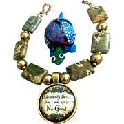 Fun Bracelet of Rhyolite and Brass, 7-3/4 Inches