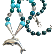 Dolphin Totem Necklace of Azurite, Sterling & Jade, 22-1/2 Inches