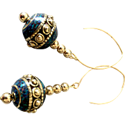 Brass-Studded Blue/Green Earrings, 2-5/8 Inches
