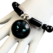 Black Cat Bracelet of Onyx & Sterling, 7-1/2 Inches