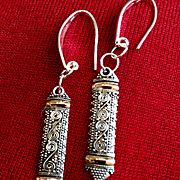 Sterling Earrings with Intricate Bali Drops, 2-1/2 Inches
