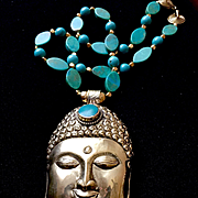 Brass & Turquoise Buddha Necklace, 22 Inches