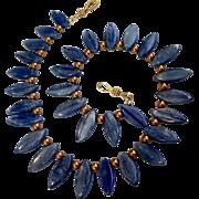 Kyanite & Glass Pearl Choker, 17-5/8 Inches