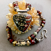 Man's Leopard Skin Jasper Necklace, 17-5/8 Inches