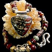 Man's Leopard Skin Jasper Necklace, 17-5/8 Inches