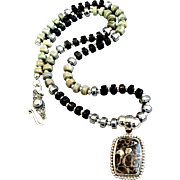 Turitella & Silver Leaf Jasper Heishi Necklace. 18-1/2 Inches
