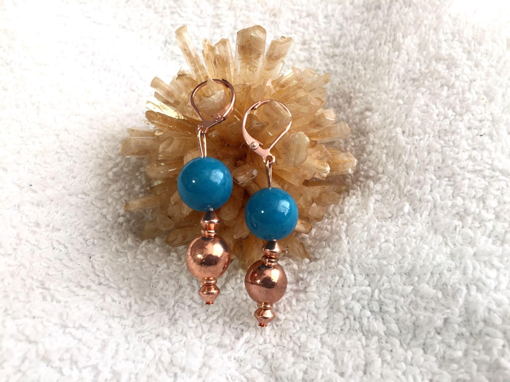 Copper & Jade Earrings, 1-5/8 Inches