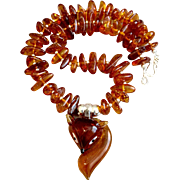 Fox Totem Necklace of Amber and Glass, 18-1/2 Inches