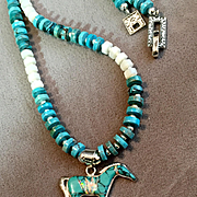 Turquoise & Sterling Silver Gem Inlaid Horse Heishi Necklace, 19 Inches