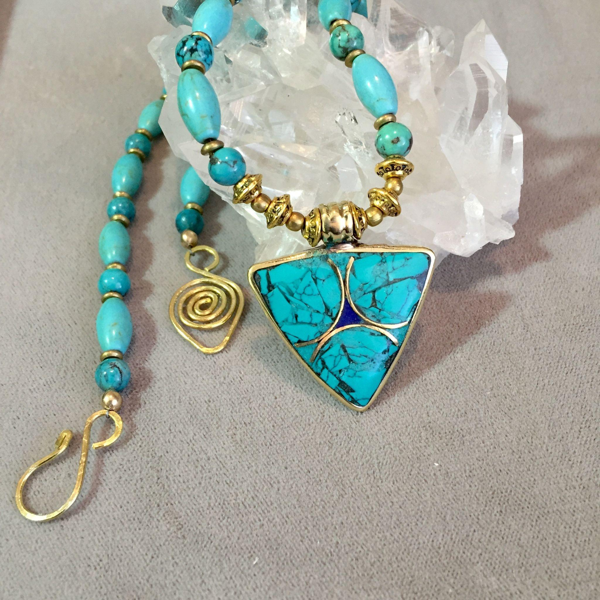 Delicate Necklace of Magnesite, Turquoise & Brass, 20 Inches