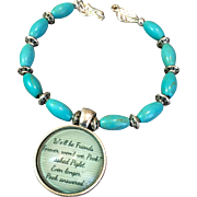 Friendship Bracelet of Magnesite and Zinc Alloy, 7-3/4 Inches
