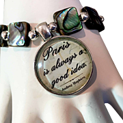 Audrey Hepburn Bracelet of Mosaic Abalone & Sterling Silver, 8 Inches