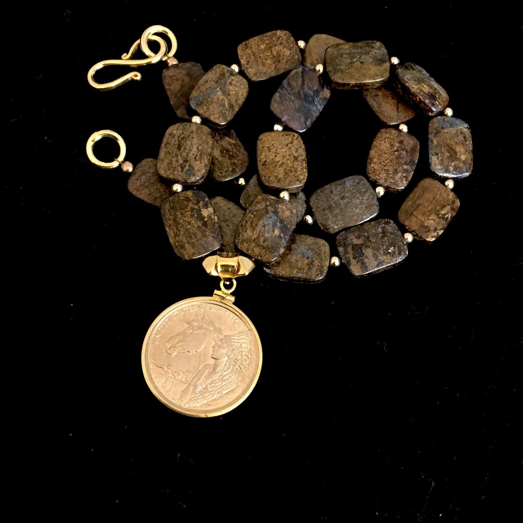 Man's Bronzite and Gold Coin Necklace, 18 Inches
