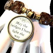 Bridges Bracelet of Turitella Jasper & Brass, 8-1/4 Inches