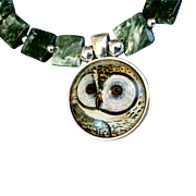 Owl Bracelet of Seraphinite and Sterling Silver, 7-7/8 Inches