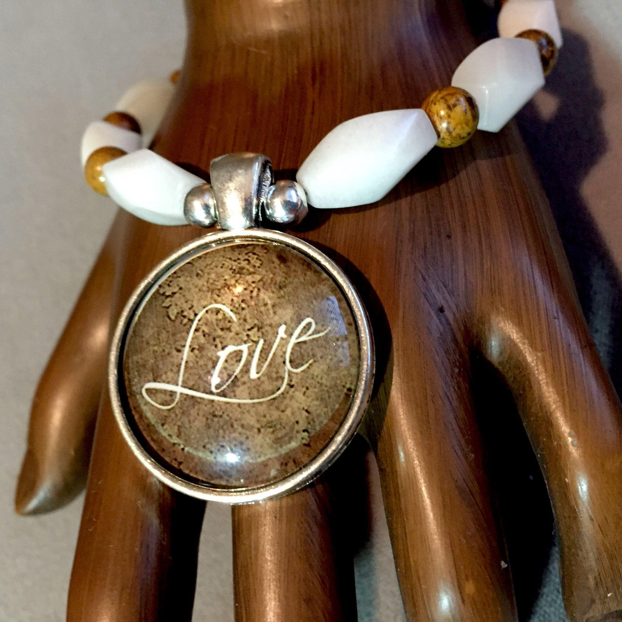 Love Bracelet of Snow White Quartz & Elephant Jasper, 8-1/8 Inches