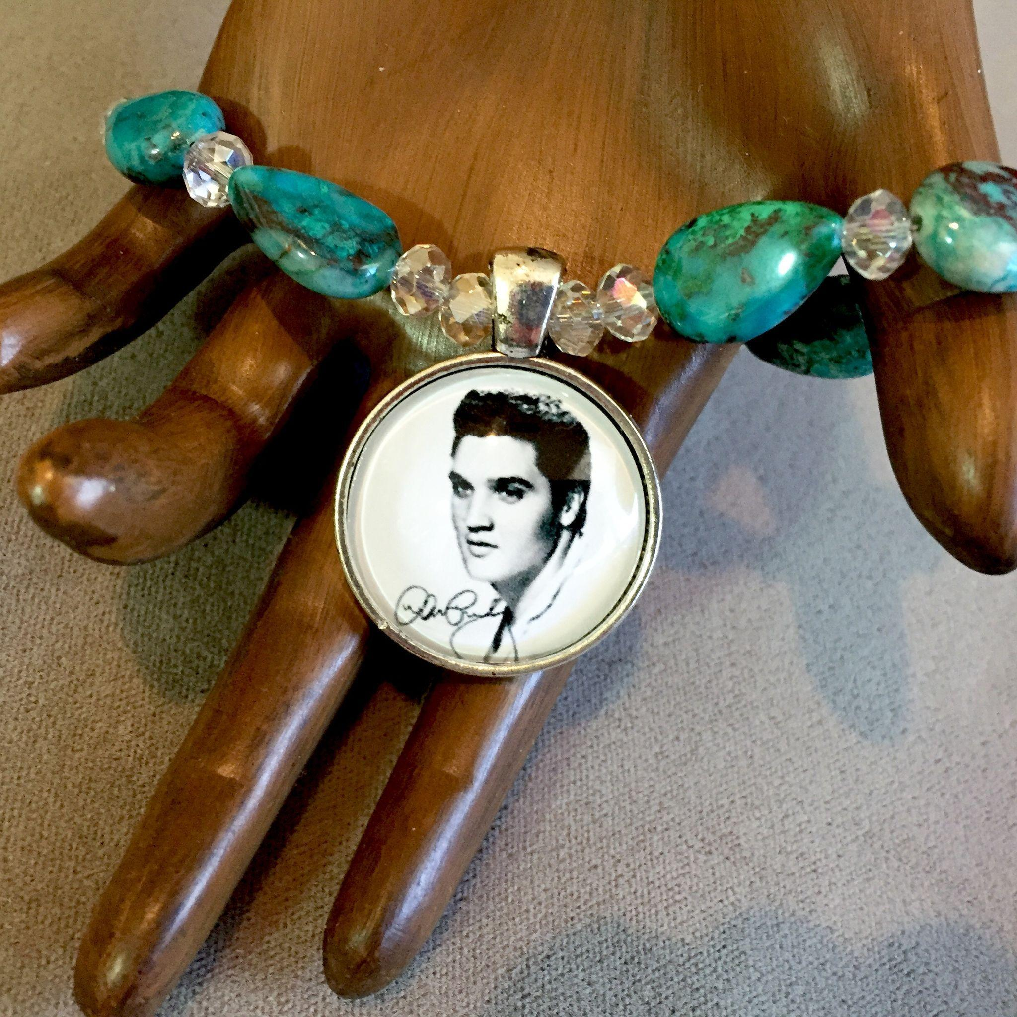 Elvis Bracelet of Chrysocolla Gem Silica & Crystal, 7-7/8 Inches