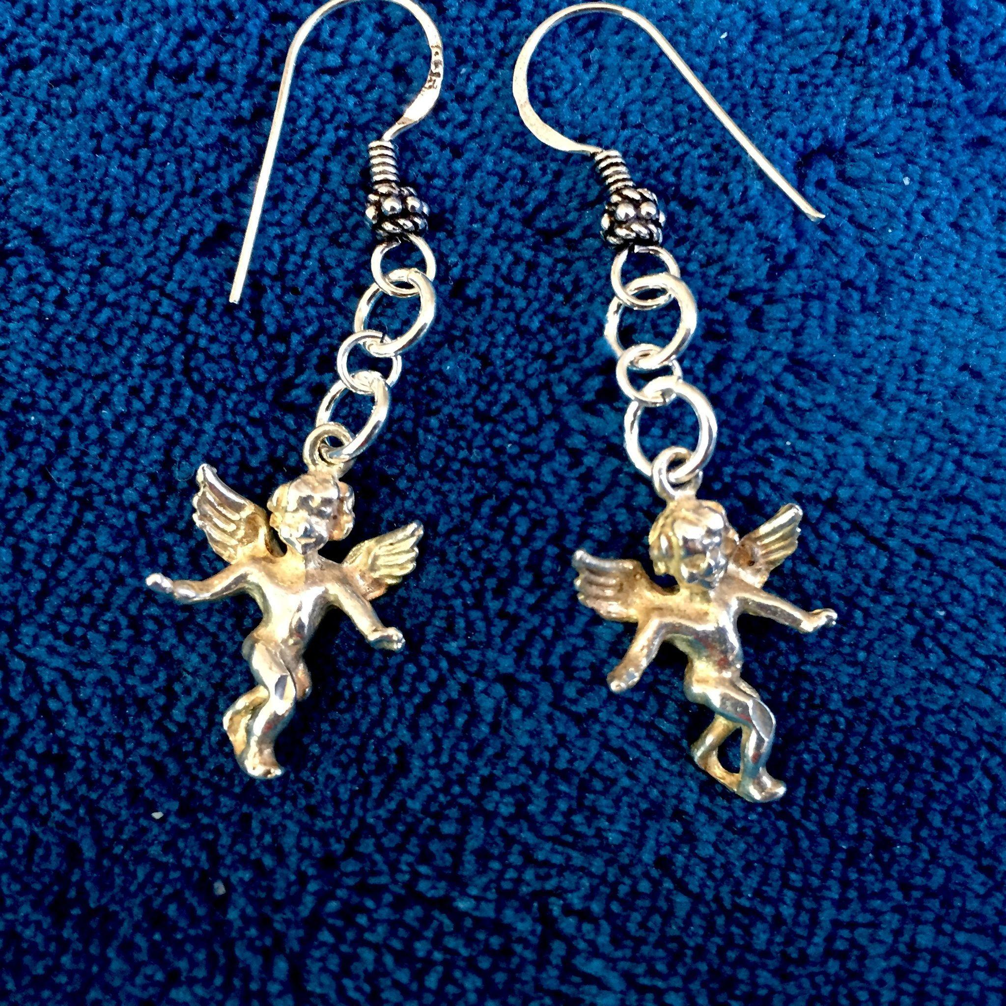 Sterling Silver Guardian Angel Dangle Earrings, 1-7/8 Inches
