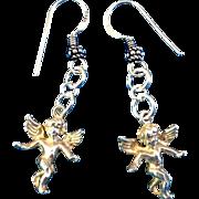 Sterling Silver Guardian Angel Dangle Earrings, 1-7/8 Inches