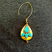 Brass and Turquoise Teardrop Earrings, 2-5/8 Inches