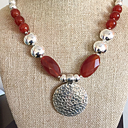 Fibonacci Necklace of Carnelian and Sterling Silver, 22-1/2 Inches