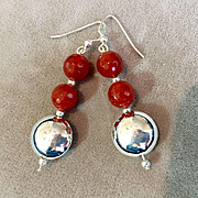 Faceted Carnelian and Sterling Silver Earrings, 2-3/8 Inches