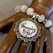 """Country Girl"" Bracelet of Rose Quartz & Tibetan Silver, 7-7/8 Inches"