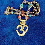"""Om"" Necklace of Brass and Nepalese Beads, 21 Inches"