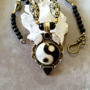 Yin Yang Necklace of Black & White Howlite, Black Onyx & Brass, 22-1/2 Inches