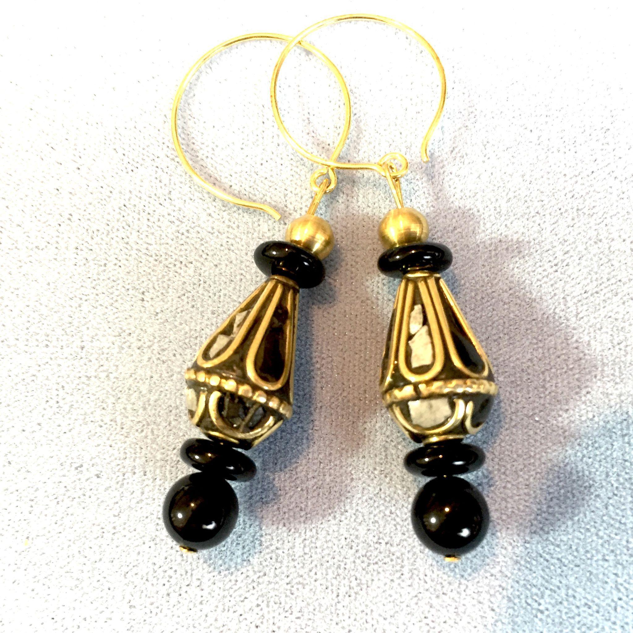 Brass, Black Onyx and Black & White Howlite Earrings #1, 2-1/2 Inches