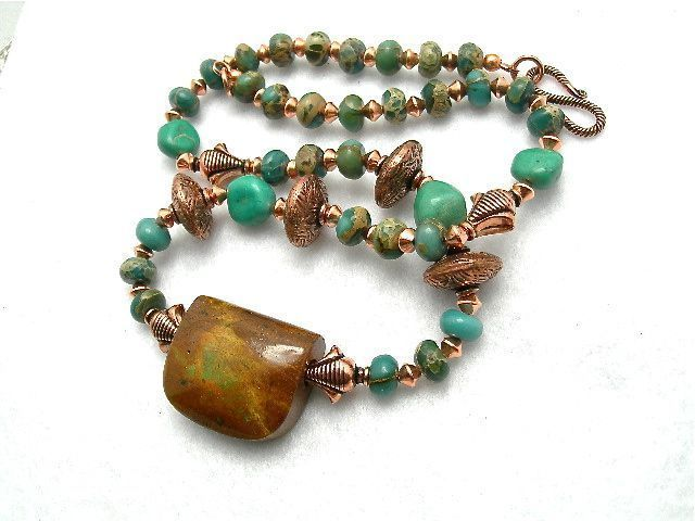 Man's Turquoise, Copper & Variscite Necklace, 19 Inches