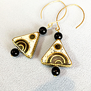 Brass, Black Onyx and Black & White Howlite Earrings #2, 2-5/8 Inches