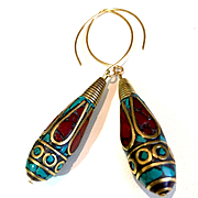 Brass, Turquoise and Coral Nepalese Earrings, 2-3/4 Inches