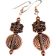 Copper Earrings on Surgical Steel Ear Wires, 2-1/4 Inches